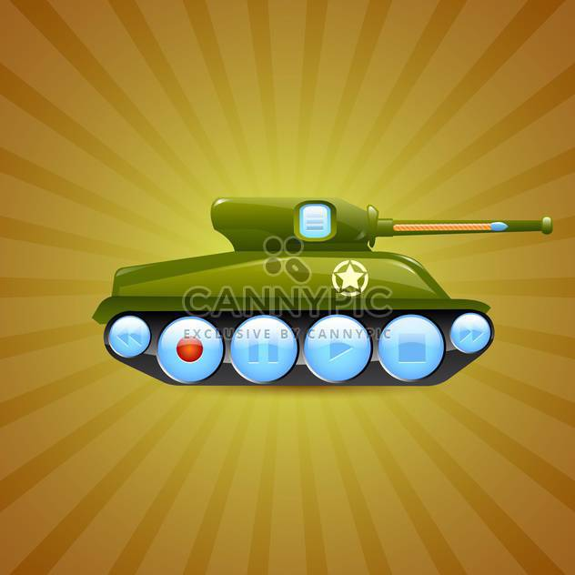Vector illustration of tank on green background - Free vector #131478