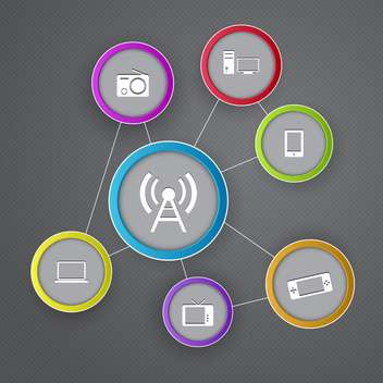 Vector communication icons on grey backrgound - vector gratuit #131548