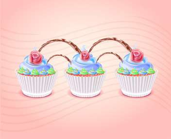 Birthday cakes illustration on pink background - бесплатный vector #131558