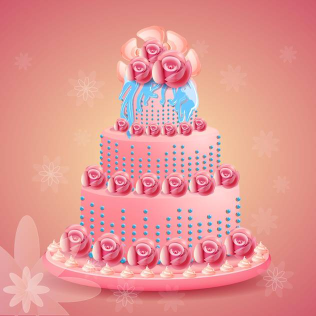 Pink Beautiful Birthday Cake On Pink Background Free