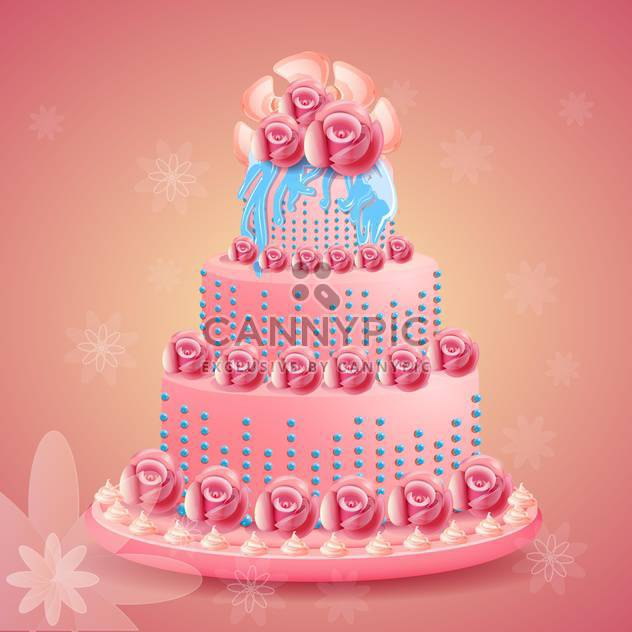 Pink beautiful birthday cake on pink background - Free vector #131588