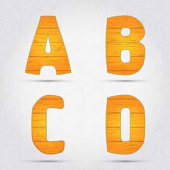 Wooden vector font on white background - vector gratuit #131628
