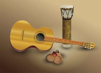Guitar and percussion vector illustration - vector gratuit #131758
