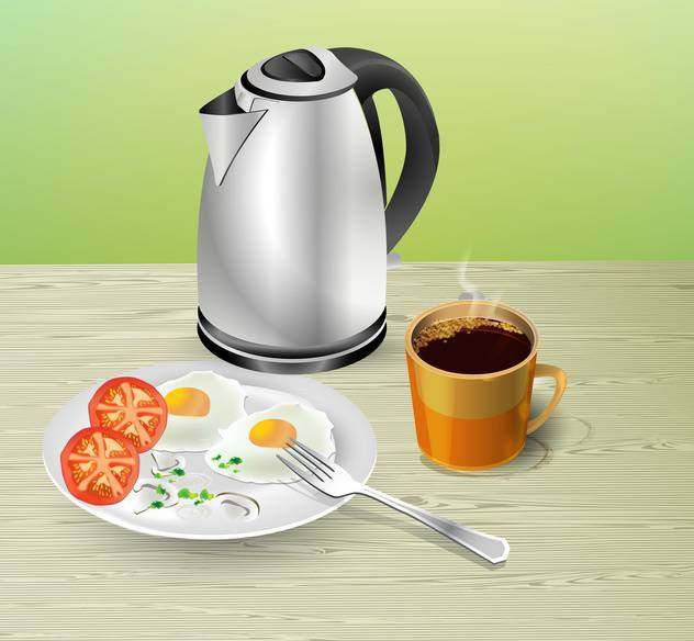 Breakfast on table vector illustration - Free vector #131828
