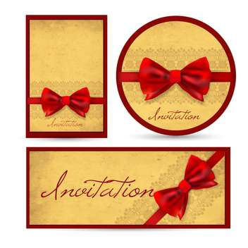 Set of beautiful cards with red gift bows - Free vector #131858