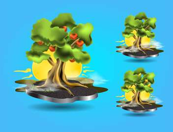 Vector tree icons on blue background - Free vector #131898