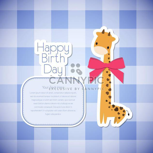 Vector greeting birthday card with giraffe on checkered background - Free vector #131948