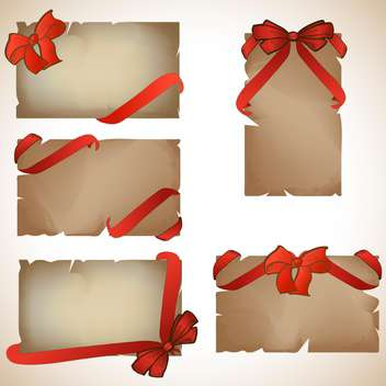 Set of beautiful craft paper cards with red gift bows - vector gratuit #131958