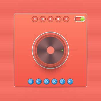 Vector web audio players on red background - Kostenloses vector #131978