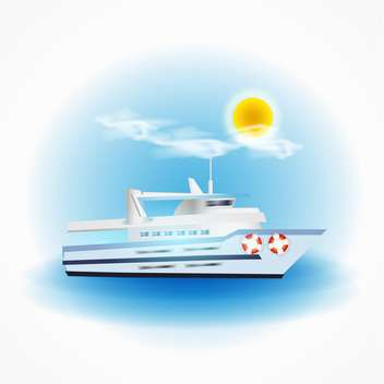 Vector boat floating in the sea on sunny day - Free vector #131998