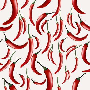 Seamless pattern with hot chilly peppers on white background - Free vector #132038