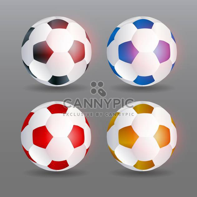 Set of four vector soccer balls on grey bakcground - Free vector #132058
