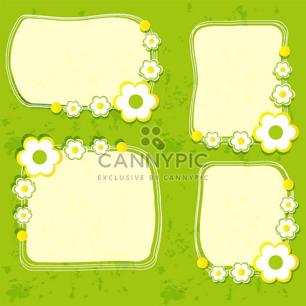 Vector floral frame set on green background - Free vector #132088
