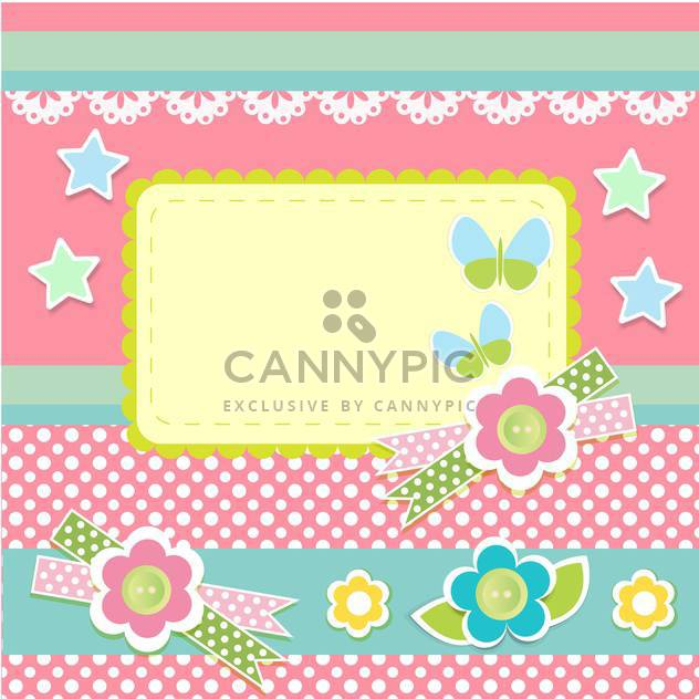 Vector set of cute frames with floral background - Free vector #132098