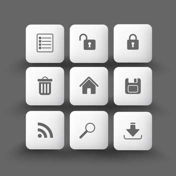 Media and communication icons on grey background - vector gratuit #132128