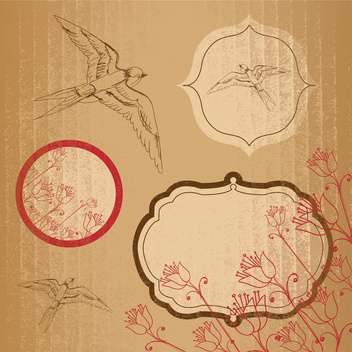 Vector set of vintage frames on brown craft paper background - vector gratuit #132148