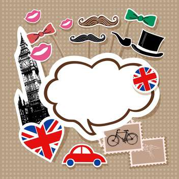 London doodles with speech cloud surrounded by England symbols - vector gratuit #132158