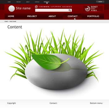 Web site design template with grass and leaf , vector illustration - Free vector #132168