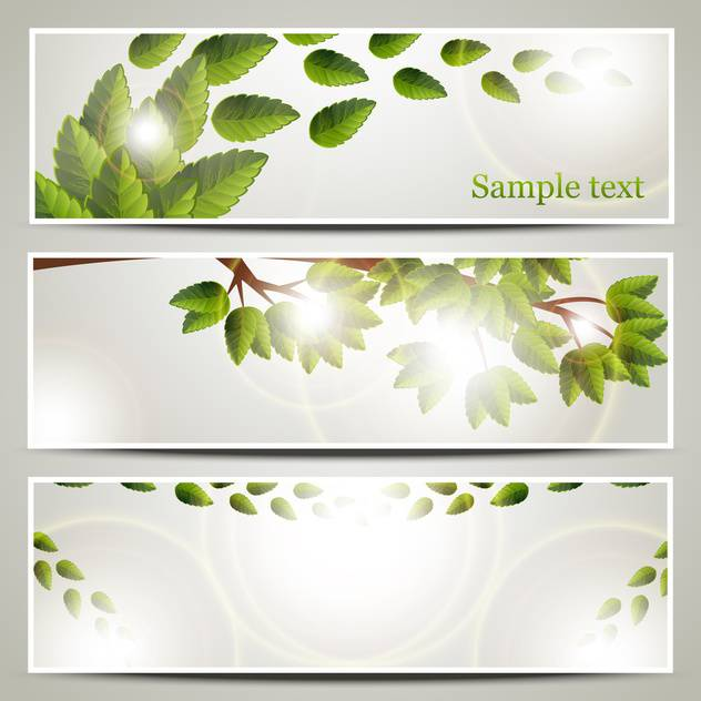 Vector floral background with tree branch and green leaves - Free vector #132188