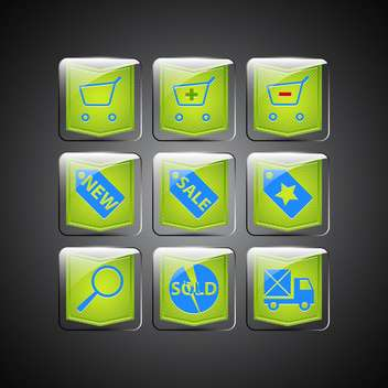 Green sale icons on black background - vector gratuit #132208