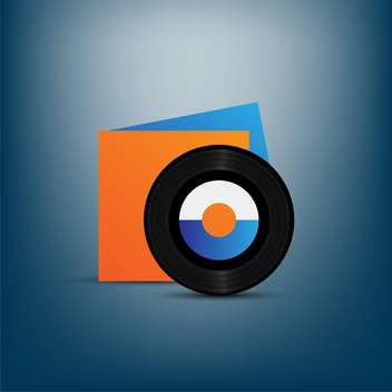 Black vinyl disc with orange cover on blue background - vector gratuit #132278