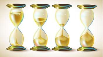 Vector set - hourglasses with golden sand - vector gratuit #132288