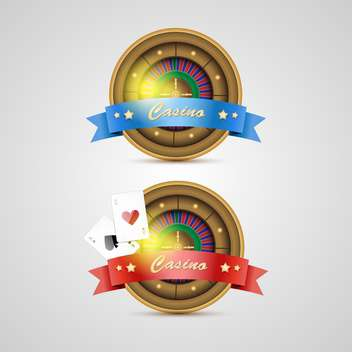 Vector casino icons with red and blue ribbons - бесплатный vector #132388