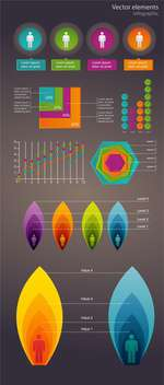 Colorful business infographic elements on gray background - Free vector #132418