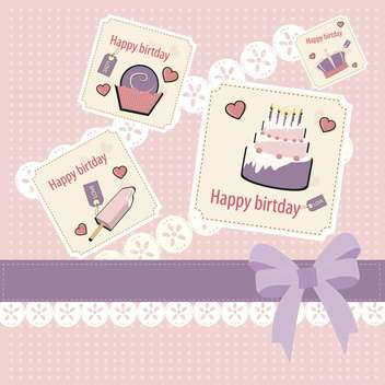 Retro pink birthday scrapbook set - vector gratuit #132468