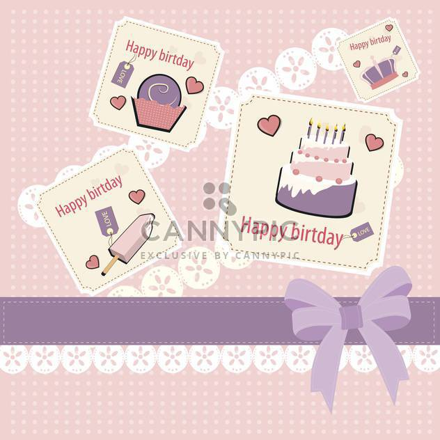 Retro pink birthday scrapbook set - Free vector #132468