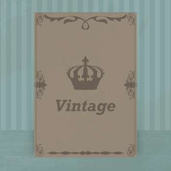 vintage crown card background - vector gratuit #132618