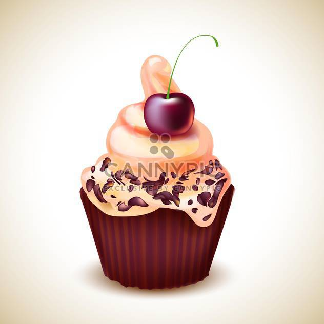 vector Illustration of cupcake with cherry - Free vector #132648