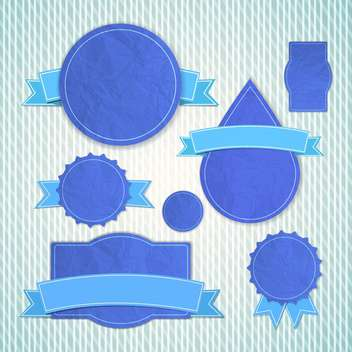 blue blank vintage emblems set - vector gratuit #132828
