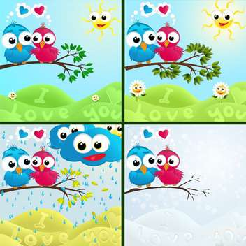 cartoon birds sitting on branches backgrounds set - vector gratuit #132868