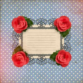 romantic floral card with vintage roses - vector gratuit #132998