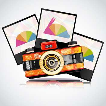 retro camera with photos frames - vector gratuit #133098