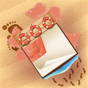 notebook background on sandy beach - бесплатный vector #133338