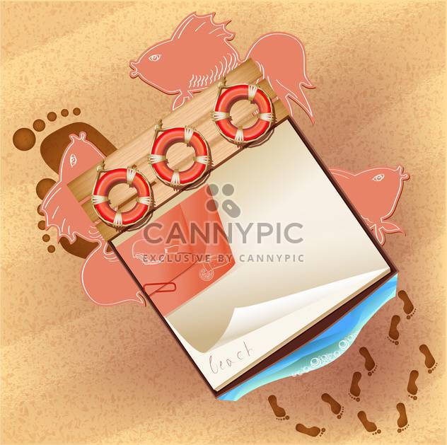 notebook background on sandy beach - Free vector #133338