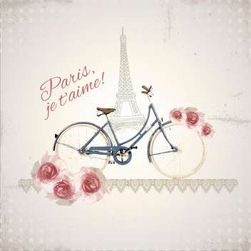 romantic postcard from paris city - vector #133398 gratis