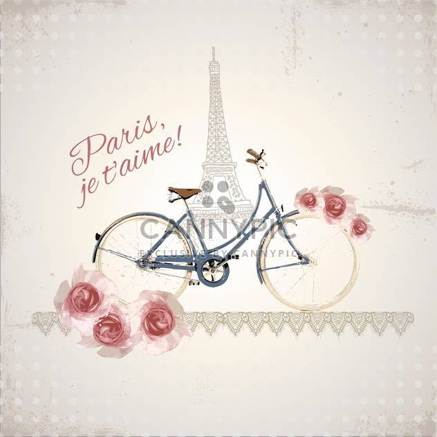 romantic postcard from paris city - Kostenloses vector #133398