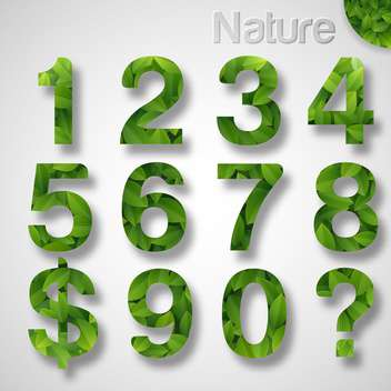 green leaf font numbers set - vector #133408 gratis