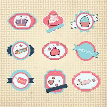 retro birthday scrapbook set - vector #133428 gratis