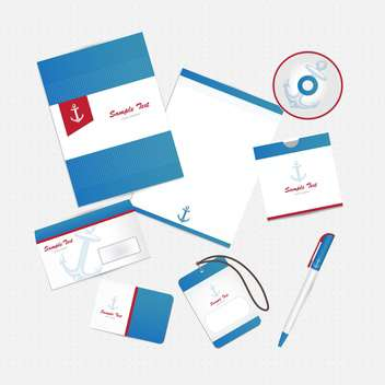 corporate business identity with anchor - Free vector #133698
