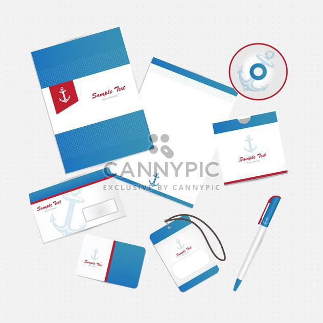 corporate business identity with anchor - бесплатный vector #133698