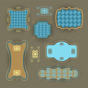 vector set of vintage frames background - vector gratuit #133728