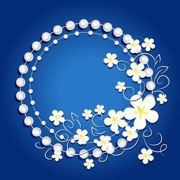 blue frame background with flowers - vector gratuit #133798