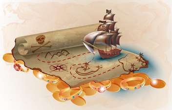pirate ship and treasure map - vector gratuit #133868
