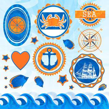 vector set of sea emblems - бесплатный vector #133998