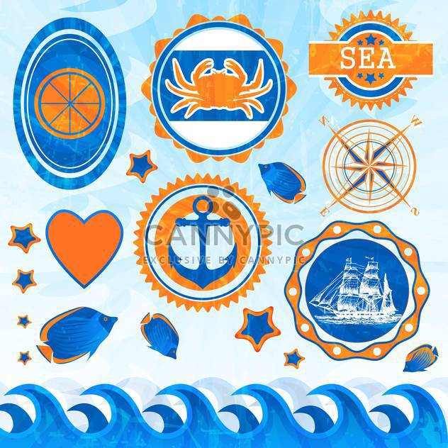vector set of sea emblems - Free vector #133998