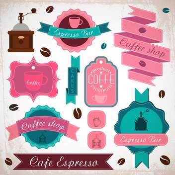 retro coffee badges and labels - vector gratuit #134008